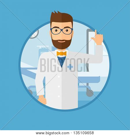 Doctor in medical gown showing finger up. Doctor with finger up in the hospital ward. Man in doctor uniform pointing finger up. Vector flat design illustration in the circle isolated on background.