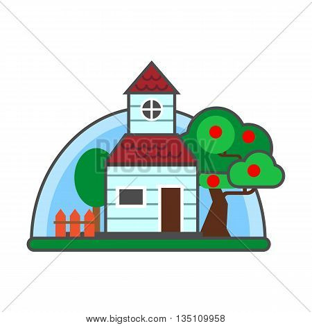 Summer cottage vector icon. Colored line icon of house with garden and orchard in summer season
