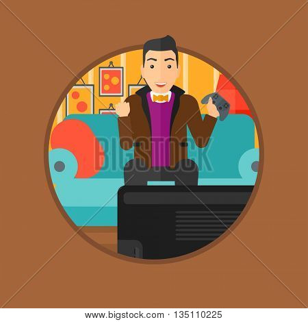 Happy gamer playing video game on the television. An excited young man with console in hands playing video game at home. Vector flat design illustration in the circle isolated on background.