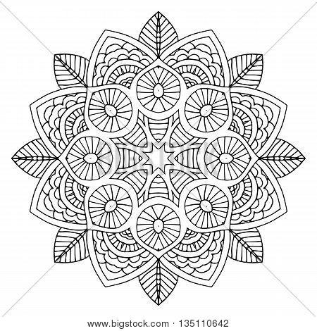 beautiful black floral orient mandala on white background, vector illustration