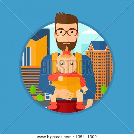 Father carrying daughter in sling. Father with baby in sling walking in the city street. Young father carrying newborn in sling. Vector flat design illustration in the circle isolated on background.