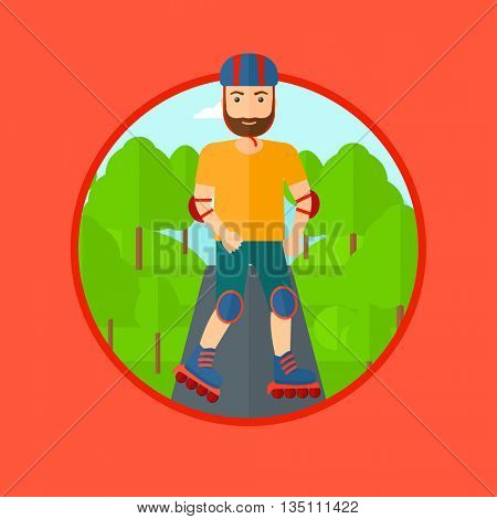 Sporty man on roller-skates in the park. Full length of hipster sportsman in protective sportwear on rollers skating outdoors. Vector flat design illustration in the circle isolated on background.