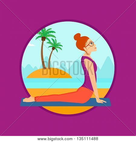 Woman practicing yoga upward dog position. Woman meditating in yoga upward dog position on the beach. Woman doing yoga on nature. Vector flat design illustration in the circle isolated on background.