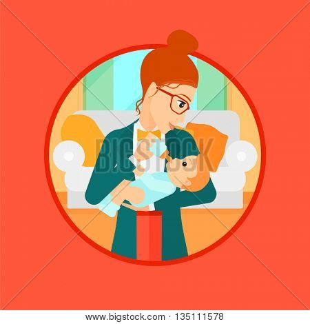 Young mother feeding baby boy with a milk bottle. Mother feeding newborn baby at home. Baby boy drinking milk from bottle. Vector flat design illustration in the circle isolated on background.