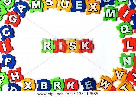 Puzzle Risk on white background, jigsaw, puzzle