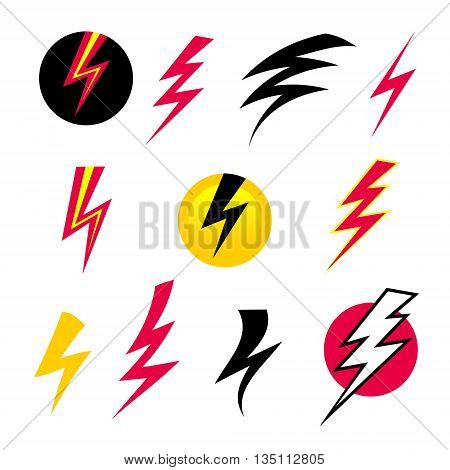 Vector set icons black Lightning. Set of Thunder Icons. Thunder with lightning. Electricity danger  thunder