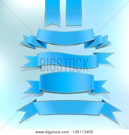 Blue Ribbon Banners Set on beautiful background