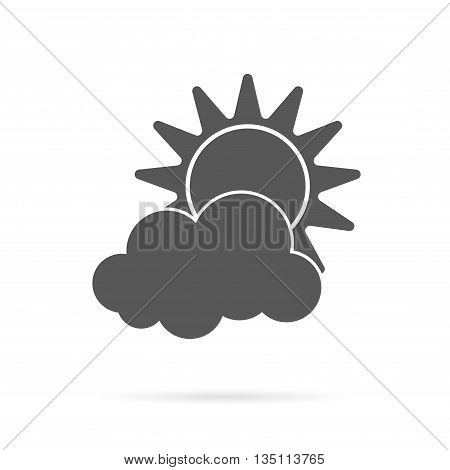 Vector sun and cloud grey icon over white.