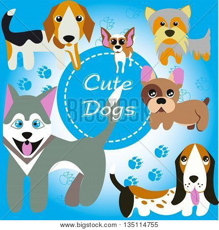 Cute funny dogs. Beagle, Husky, French Bulldog, Yorkshire Terrier, Chihuahua, Bassett