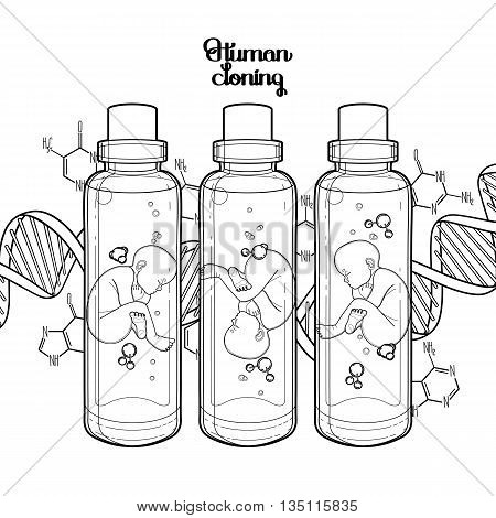 Graphic vector fetus in the glass bottle and abstract dna background. Artificial insemination or IVF topic. Vector science illustration. Coloring book page design for adults and kids