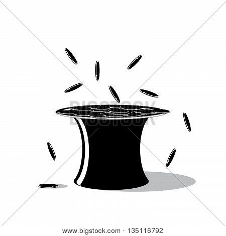 icon money. A black hat and the falling coins on a white background