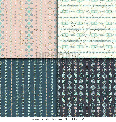 Geometric seamless patterns. Abstract ornament. Ethnic background, aztec pattern