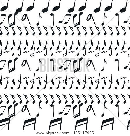 Seamless pattern with music notes. Doodle music seamless background, black and white. Vector notes