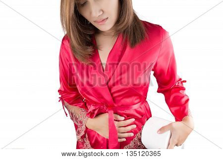 Woman having painful stomachache on white background