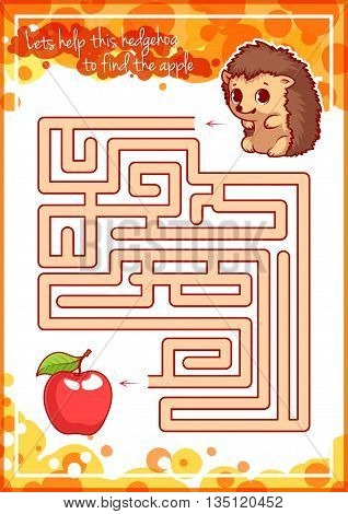 Maze game for kids with hedgehog and apple. Let's help this hedgehog to find the apple. Vector template page with game.