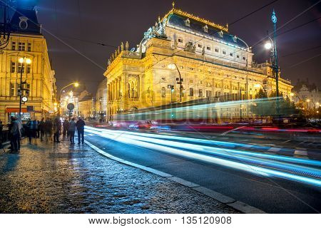 Evening view of the National Theater in Prague from the Legion Bridge - long exposure with traffic, Czech, Europe