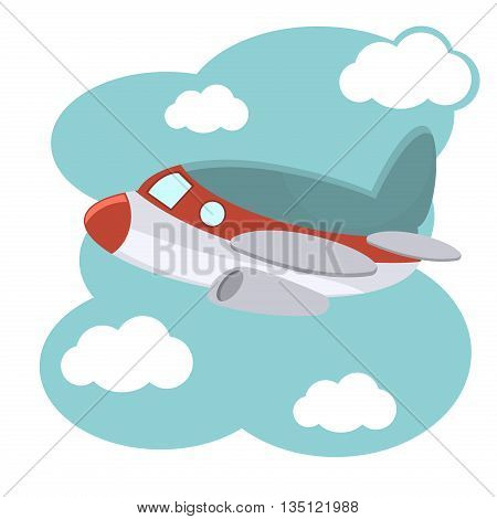 Cartoon plane in blue sky vector illustration.. Illustration of cartoon plane in blue sky. Fly air transportation cartoon plane and aviation drawing toy wing cute aeroplane.