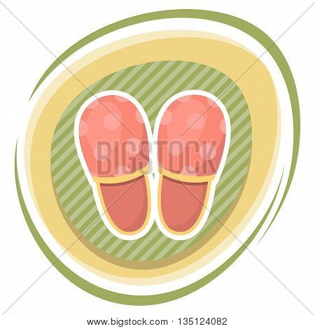 Vector Illustration Of Home Slippers.