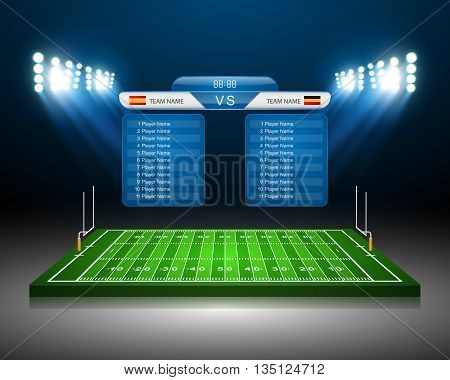American Football field, American Football field with scoreboard,vector