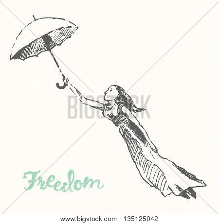 Hand drawn of young girls with umbrellas. Openness, happiness, freedom concept. Vector illustration, sketch