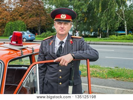Dnepropetrovsk Ukraine - September 14 2013: Man in the uniform of a Soviet police officer with the rank of sergeant