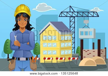 A vector illustration of female contractor standing in front of a house