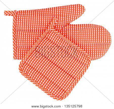 Mitt oven glove and pot holder set orange white plaid