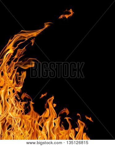 orange flame corner isolated on black background