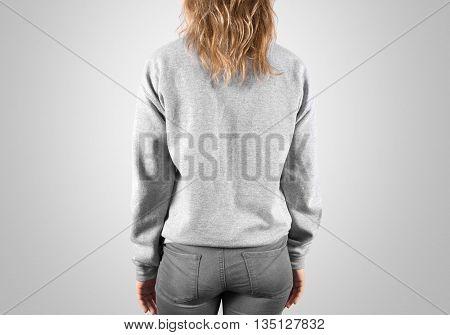 Blank sweatshirt mock up back side view, isolated, clipping path. Female wear plain hoodie mockup. Hoody design presentation. Clear loose model. Jumper backward. Man clothes sweat shirt sweater wear