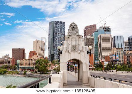 Centre Street Bridge Leading To Downtown Calgary