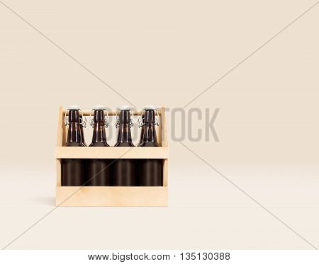 Beer wooden box mock up isolated. Blank wood beer packaging stand.