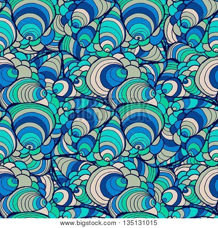 Seamless Abstract Hand-drawn Waves Pattern, Wavy Background. Seamless Pattern Can Be Used For Wallpa