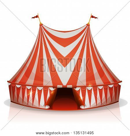 Illustration of a cartoon big top circus tent with red and white stripes for funfair and carnival holidays isolated on white