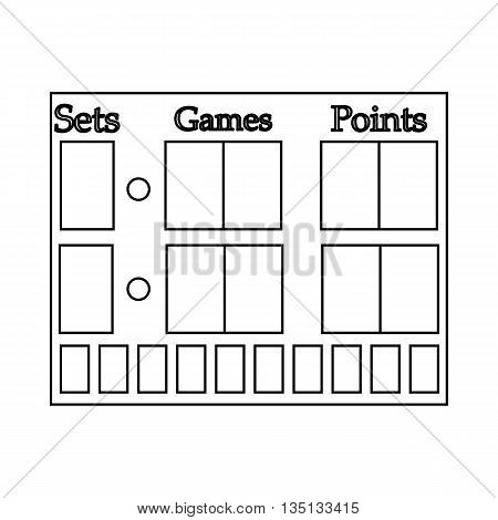 Tennis scoreboard icon in outline style on a white background
