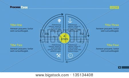 Editable infographic template of presentation slide representing segmented circle diagram with four steps, multicolored version