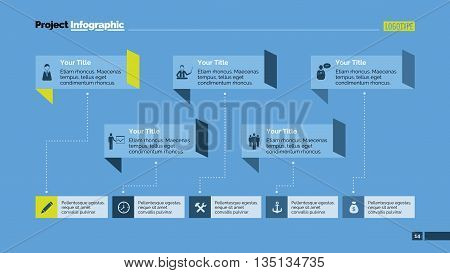 Editable template of presentation slide representing workflow diagram with five options, multicolored version