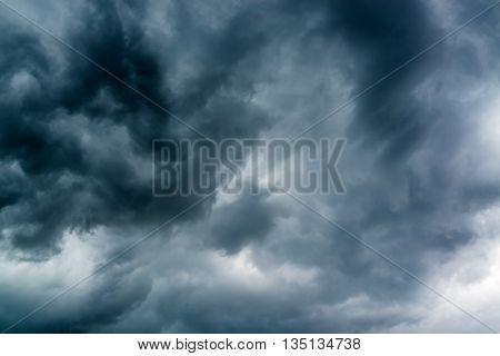 Black stormy dramatic clouds in gloomy sky