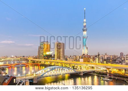 TOKYO, JAPAN - NOV 30 :Tokyo Sky Tree (634m) at dusk on Noverber 30, 2015.Tokyo Sky Tree is the highest free-standing structure in Japan and 2nd in the world with over 10million visitors each year.