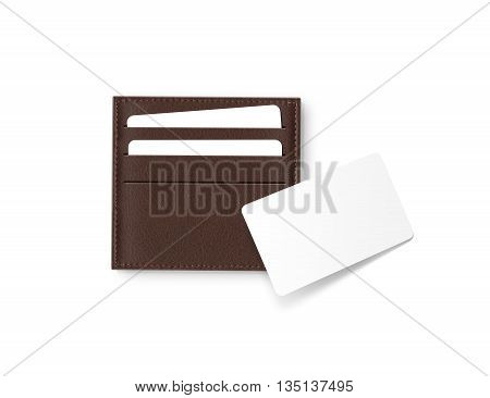 Brown leather card holder with blank white card mock up isolated. Business credit cards mockup in sleeve cardholder pocket. Clear paper visit cards branding identity wallet. Logo design presentation.