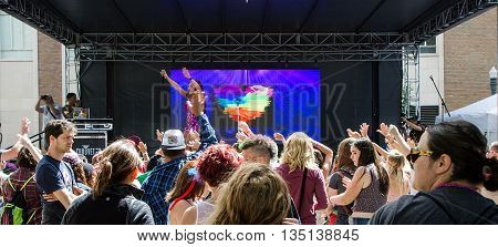 Boise, Idaho/usa - June 20, 2016: Group Of People Gathered For Queen Sessi During The Boise Pridefes