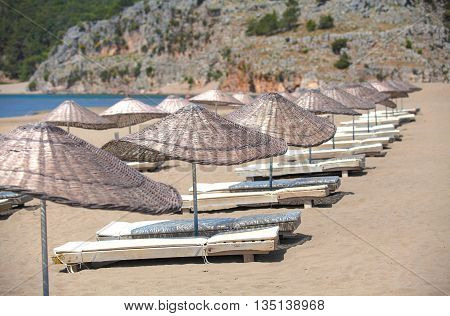iztuzu beach with a beautiful view of the lagoon in Turkey.