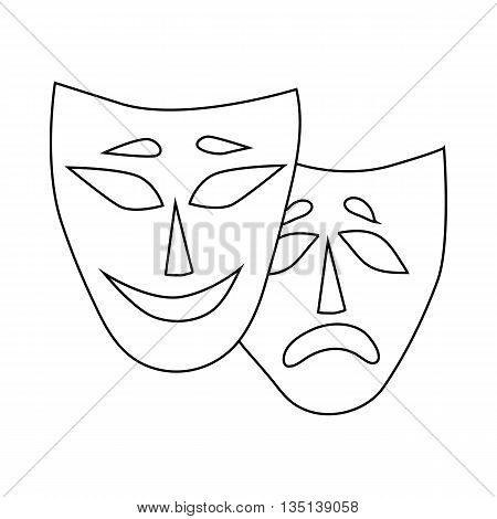 Comedy and tragedy theatrical masks icon in outline style on a white background