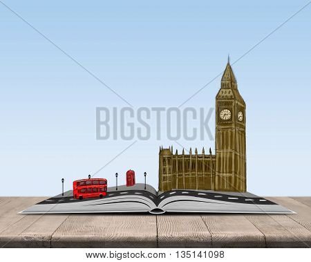 Model of an open book with sketch of London on top of it. The leading global city. World cultural capital. England and United Kingdom. Sign and symbol. Big Ben and red double-decker bus.