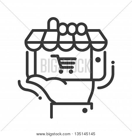 Online store single isolated modern vector line design icon with a shop, storefront, hand holding mobile device
