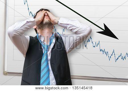 Bad Investment Or Economic Crisis Concept. Businessman Is Disapp