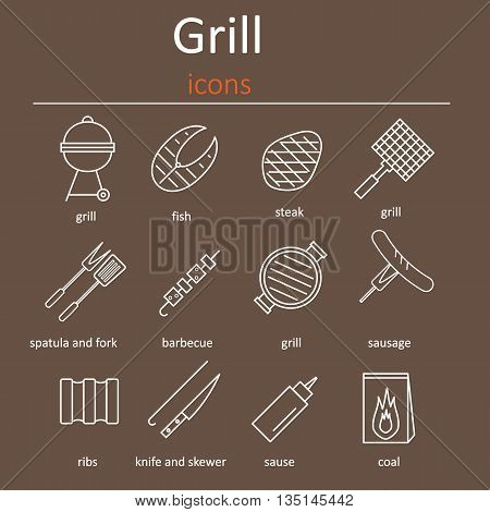 Grill icons. Icons grilling accessories. Oven grill grill accessories and products.