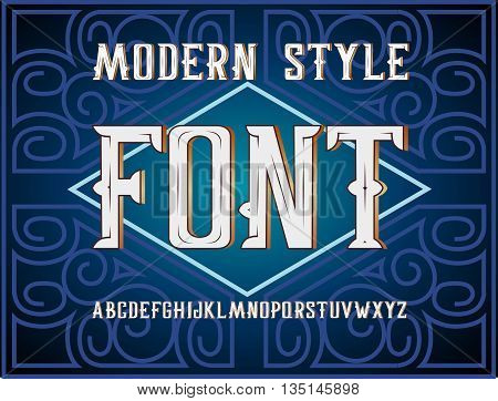 Vector handy crafted modern label font. On dark background
