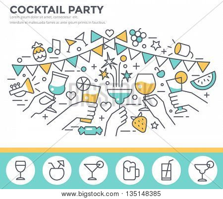 Cocktail party invitation concept template, hands of friends with alcohol drinks making toast vector illustration, thin line, flat design