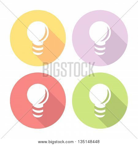Electric Light Bulb Flat Icons Set