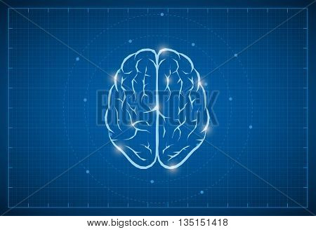 Vector brain symbol on blueprint.